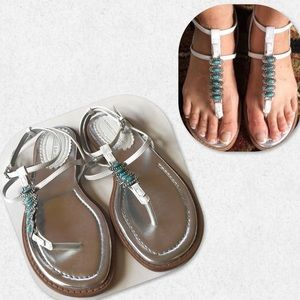 Montego Bay Club White Strappy Turquoise Sandals